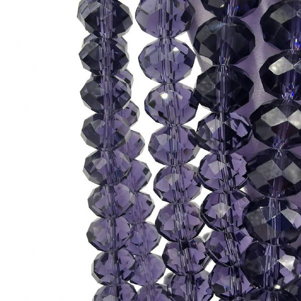 48 pcs x 16mm Glass Faceted Rondelle  Purple 005